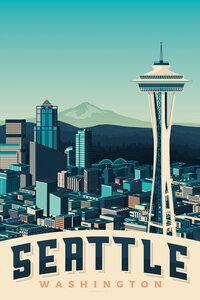 Seattle Vintage Travel Wandbild - Poster von François Beutier - Photocircle