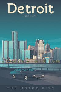 Detroit Vintage Travel Wandbild - Poster von François Beutier - Photocircle