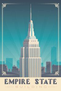 Empire State Building New York Vintage Travel Wandbild - Poster von François Beutier - Photocircle