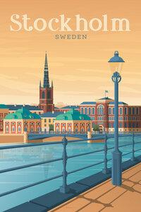 Stockholm Vintage Travel Wandbild - Poster von François Beutier - Photocircle