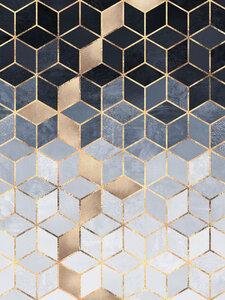 Soft Blue Gradient Cubes - Poster von Elisabeth Fredriksson - Photocircle