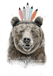 Festival bear - Poster von Balazs Solti - Photocircle