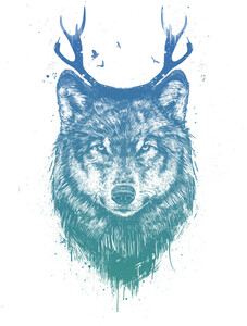 Deer wolf - Poster von Balazs Solti - Photocircle