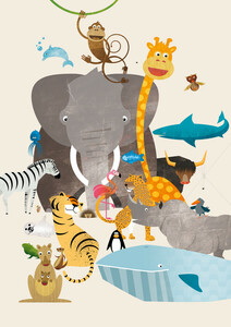 Kinderzimmer-Tiere – Illustration für Kinder - Poster von Pia Kolle - Photocircle
