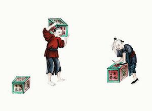 Chinesische Malerei von zwei Männern mit Teekisten - Poster von Vintage Collection - Photocircle