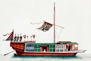 Chinesisches Gemälde eines Flusspassagierschiffs - Poster von Vintage Collection - Photocircle