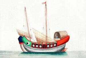 Chinesische Malerei mit altem chinesischem Seeschiff - Poster von Vintage Collection - Photocircle