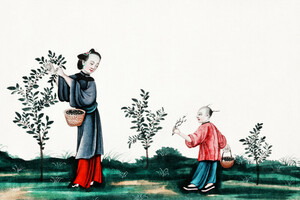 Chinesische Malerei mit Mutter und Sohn, die Teesprossen pflücken - Poster von Vintage Collection - Photocircle