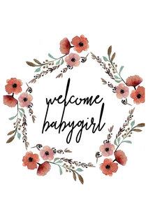 Kinderbild Welcome Babygirl Blumenkranz - Poster von Christina Wolff - Photocircle