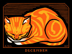 December Cat - Poster von Vintage Collection - Photocircle