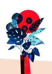 Monstera und Pilea in roter Vase - Poster von Pia Kolle - Photocircle