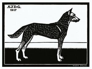 Woodblock Dog - Poster von Vintage Collection - Photocircle