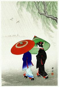 Zwei Frauen im Regen von Ohara Koson - Poster von Japanese Vintage Art - Photocircle