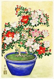 Blühender Rhododendron von Ohara Koson - Poster von Japanese Vintage Art - Photocircle
