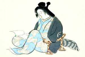Lesende Dame aus Momoyogusa - Poster von Japanese Vintage Art - Photocircle