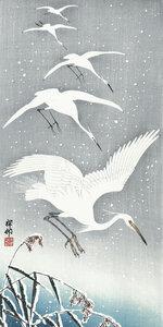 Reiher im Landeanflug im Schnee - Poster von Japanese Vintage Art - Photocircle