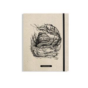 "Notizbuch Graspapier ""Snail"" (black/carton) - Swiss Brochure - Matabooks"