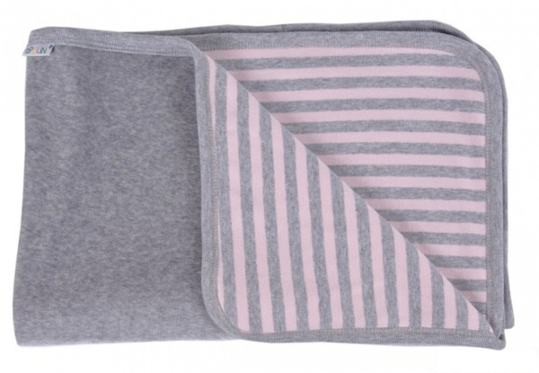 popolini baby decke rosa grau 90x70 bio baumwolle avocadostore. Black Bedroom Furniture Sets. Home Design Ideas