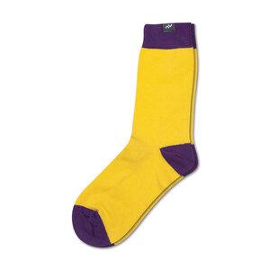 Bunte color block Socken aus Bio-Baumwolle für Männer und Frauen - Gelb / Violett - MINGA BERLIN