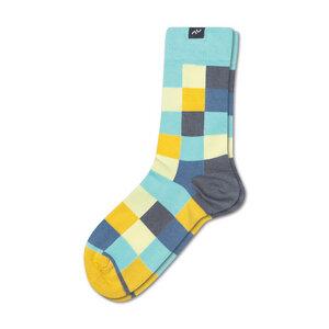 Bunte gekachelte Socken aus Bio-Baumwolle für Männer und Frauen - Gelb / Aqua / Blau - MINGA BERLIN