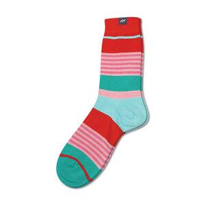 Bunte gestreifte Socken aus Bio-Baumwolle für Männer und Frauen - Rot / Grün / Rosa - MINGA BERLIN