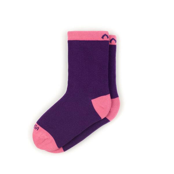 minga berlin bunte color block kindersocken aus bio baumwolle gots violett rosa. Black Bedroom Furniture Sets. Home Design Ideas