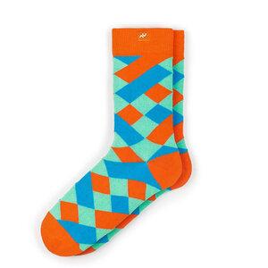 Bunte karierte Socken aus Bio-Baumwolle für Männer und Frauen - Orange / Blau - MINGA BERLIN