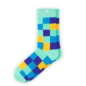 Bunte gekachelte Socken aus Bio-Baumwolle für Männer und Frauen - Cyan / Gelb - MINGA BERLIN