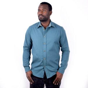 Herren Hemd aus Baumwollstoff mit Kikoy Streifen Verzierungen - Africulture