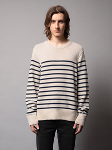 Unisex Pullover Hampus Recycled Stripe Sweater Offwhite/Navy - Nudie Jeans