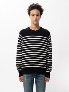 Unisex Pullover Hampus Striped Sweater Black/White - Nudie Jeans