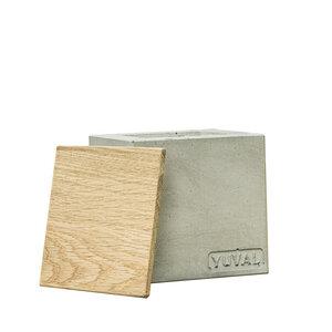 YUVAL Betonkerze 10,5 cm x 10.5 cm - aus grünem Beton - vegan - YUVAL
