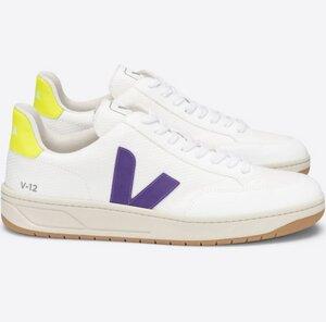 Sneaker Herren Vegan - V-12 B-Mesh - White Purple Jaune-Fluo - Veja
