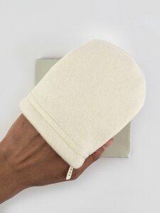 3 Abschmink-/ Waschhandschuhe aus Fleece & Frottee - treu