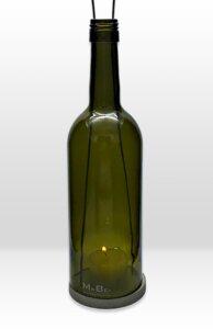 hängeWINDLICHT® aus der 0,7l Bordeaux Flasche mit Schraubmündung und Betonhänger - MaBe