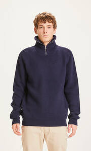 Strickpullover - VALLEY 1/2 neck zip merino wool rib knit - KnowledgeCotton Apparel