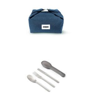 Lunchset - Lunchbag aus recycelten PET-Flaschen & Besteck-Set mit Etui - Black + Blum