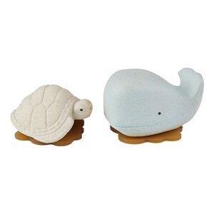 Hevea - Badespielzeug Set Wal + Schildkröte - Naturkautschuk / upcycled 3 Farben - Hevea