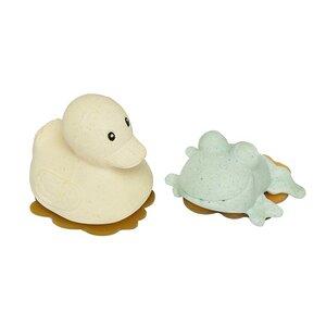 HEVEA - Badespielzeug Set Ente + Frosch - Naturkautschuk / upcycled / Sand + Sage - Hevea