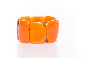 Tagua Armreif Armband poliert orange - Bea Mely