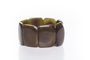 Tagua Armreif Armband poliert olive - Bea Mely