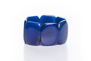 Tagua Armreif Armband poliert blau - Bea Mely