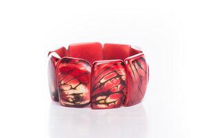 Tagua Armreifen mit Hautstruktur rot - Bea Mely