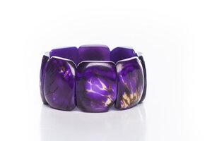 Tagua Armreifen Armband mit Hautstruktur lila - Bea Mely