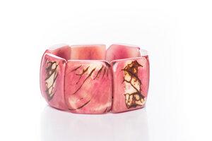 Tagua Armreifen Armband mit Hautstruktur rosa - Bea Mely