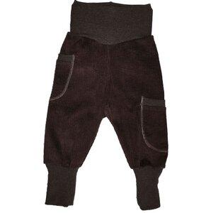 Kinder-/Baby-Mitwachshose aus dunkelbraunem Stretch-Breitcord mit Taschen - Omilich