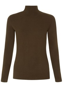 May Turtle Neck Top Khaki - People Tree