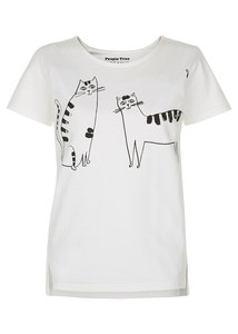 Happy Cats Tee White - People Tree