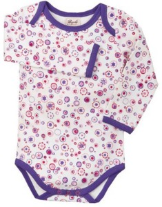 Body Langarm pink/gemustert - People Wear Organic