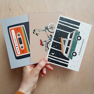 Postkarten 3er-Set Retro aus Recyclingpapier - TELL ME